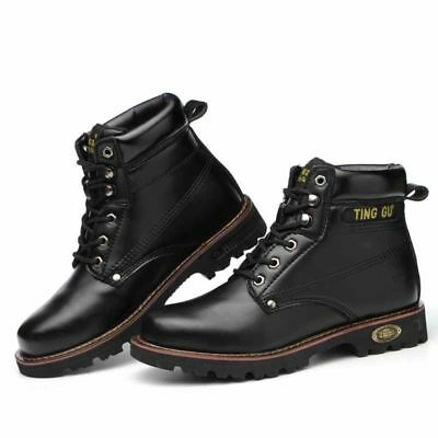 Mens Leather High-top Tactical Boots Oxford Casual Climbing Trekking Work Shoes