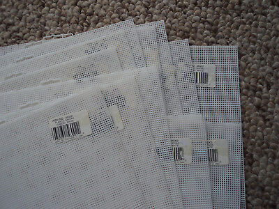 12 SHEETS - 10 COUNT PLASTIC MESH EMBROIDERY CANVAS / 28x35cm JOB LOT