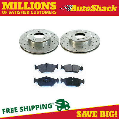 Front (2) Drilled Slotted Performance Rotors (4) Metallic Pad For 01-05 BMW 325i