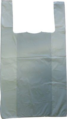 """White Plastic Vest Style Plastic Carrier Bags - 10"""" x 15"""" x 18"""" - 1 packet = 100"""