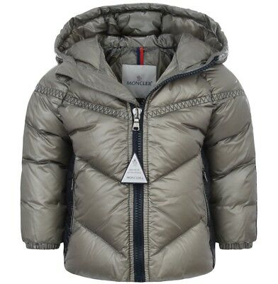 Moncler Cyprien Baby Boy Down Feather Grey Coat Jacket Size 3/6 Months NEW