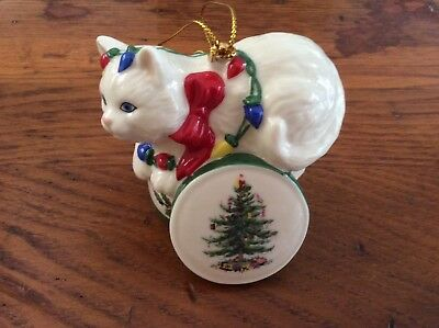 Spode Christmas Tree Ornament 2003 Kitten Gift Box/Lights
