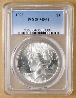 1923 P Peace Silver Dollar (Whisker Jaw) PCGS MS64