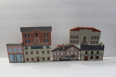 6 Galena Illinois Wooden Figures Buildings Cat's Meow Dowling Post Office Librar