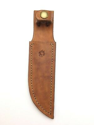 Custom Leather Sheath 5.5'' Fixed Blade Knife Embossed Paw Print Vintage 2157-X