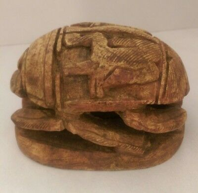 Large Vintage Egyptian Hand Carved Stone SCARAB Beetle w/ Hieroglyphics NOS