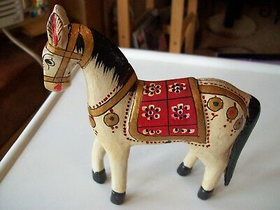 Vintage Hand Carved, Hand Painted Wood Colorful Horse