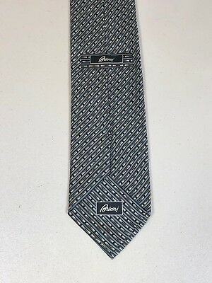 BRIONI Mens Silver Black Blue Striped Hand Made Italy 100% Silk Tie 3 5/8 - 61