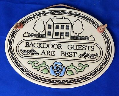 Vintage 1986 Trinity Pottery Ceramic Plaque - Back Door Guests Are Best