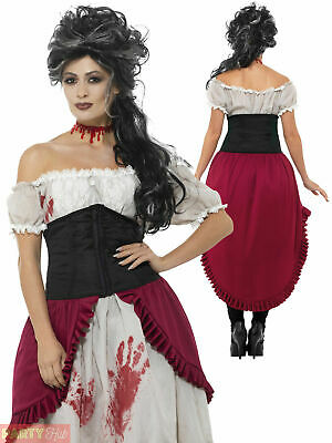 Ladies Victorian Slasher Victim Costume Halloween Jack The Ripper Fancy Dress