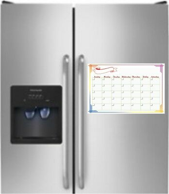 "16"" x 11"" Monthly Dry Erase Magnetic  Light Weight Refrigerator Calendar Message"
