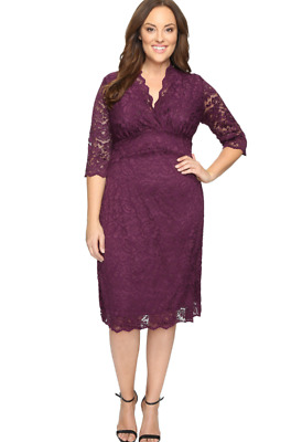a49ffa5f42d New  160 Kiyonna Plum Lace Mademoiselle Party Mother Of Bride Plus Dress 0  1 2 4
