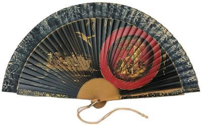Vintage Palace Bazar Manila Asian Chinoiserie Oriental Painted Bamboo Ladies Fan