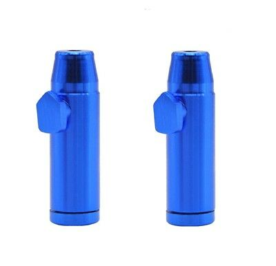 2 x Blue Snuff Bullet Dispenser Metal Aluminum Snorter Rocket Box Nasal