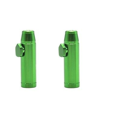 2 x Green Snuff Bullet Dispenser Metal Aluminum Snorter Rocket Box Nasal