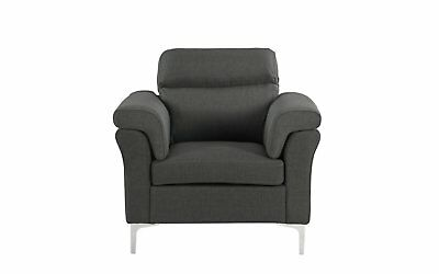Classic Living Room/Family Room Fabric Armchair, Accent Chair (Dark Grey)