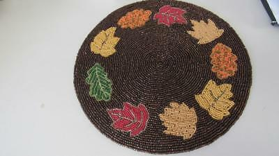 Christmas Holiday Valentine/'s Day Red Beads Beaded Round Placemat Centerpiece