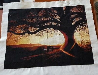 Sunset Tree completed cross-stitch (unframed)