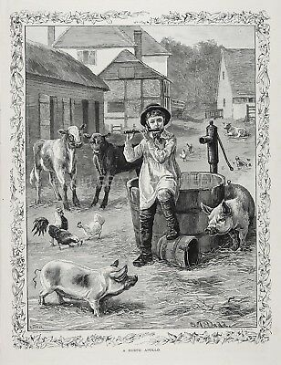 Flute Music, Boy Plays for Barnyard Animals, Farmyard Large 1880s Antique Print