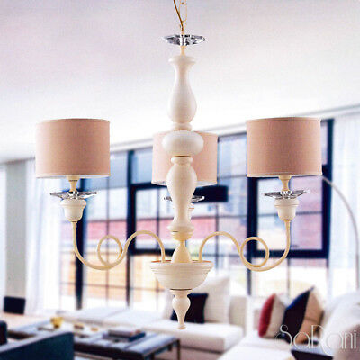 Chandelier Classico Ceiling Pendant Lamp Elegant Ivory Light Crystals