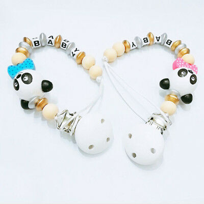 Baby wooden pacifier holder clips chain infant dummy nipple teether straps