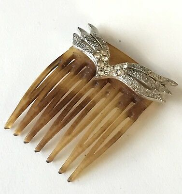 Vintage Faux Tortoise Shell Rhinestone Lucite Hair Comb