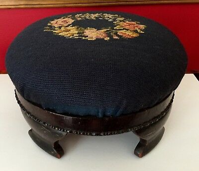 ANTIQUE 1800's EMPIRE ROUND FOOTSTOOL Foot Stool Ottoman NEEDLEPOINT Floral