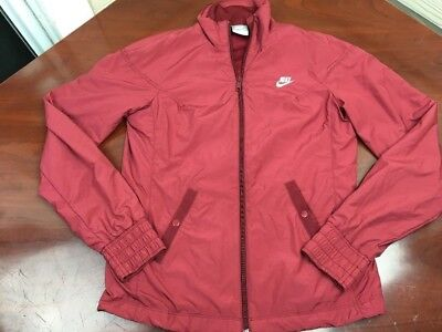 Nike VINTAGE Womens Track Jacket Windbreaker Cranberry Red Button Pockets Small