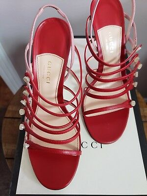 af74c9a82433 Gucci Sally Navy White Leather Ankle Strap Leather Platform Sandals Wedges  Shoes.