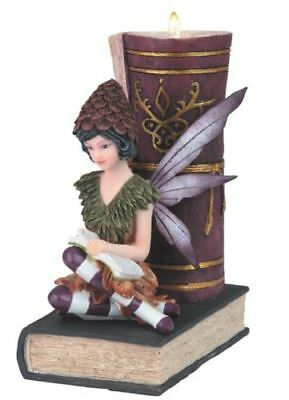 Purple Fairy Reading While Sitting on Book Candle Holder Fantasy Statue Figurine