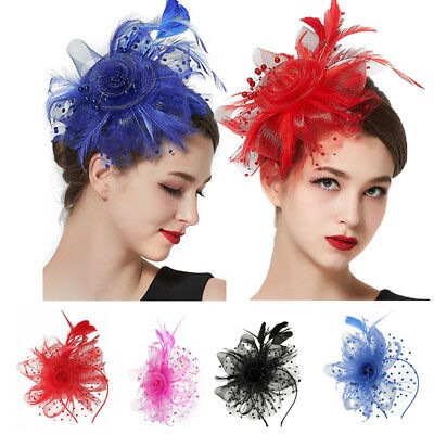 Charms Mesh Flower Feather Fascinator Headband Hat Wedding Prom Ladies Headpiece