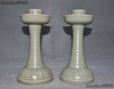 "9""Old Chinese dynasty Yue Kiln porcelain glaze Candlesticks Candle Holder Pair"