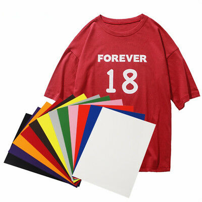 10x A4 Heat Transfer Vinyl Iron on Transfer for Clothes Sticker Film HTV Shirts