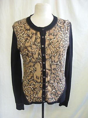 Ladies Cardian - Linea, size M, animal print front, black sleeve, very nice 7712