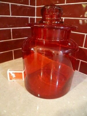 Vintage Red Glass Jar Canister Apothecary Cookie Storage Large