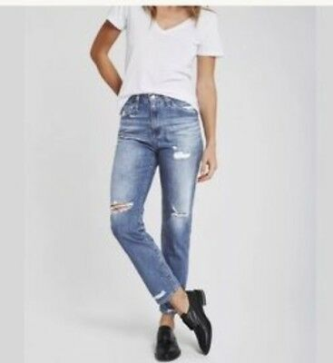 ccff45131ba Ag Adriano Goldschmied Jeans Phoebe High Rise 17 Years Oasis Distressed  Jeans 29