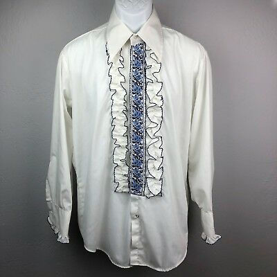 Vintage After Six Ruffled Tuxedo Shirt Blue and White Men's 16 x 35