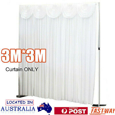 3M x 3M Wedding Stage Backdrop Curtain Drape Party Decor with Swag Background
