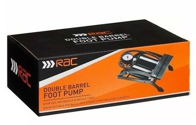 New RAC Twin Foot Pump 100psi/0.7 Bar PG for Cars,bicycle, balls toys Motorcycle