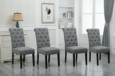 Set of 4 High Back Beige Dining Chairs Fabric Upholstered with Rivet Dining Room