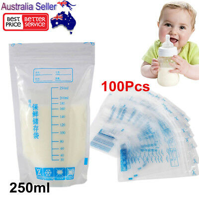 100Pcs BPA Free Baby Breast Milk Storage Food Bags Storage Pre-sterilised 250ML