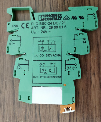 Phoenix Contact Slim Line 24V Relay With Base, Din Rain Mount PLC-BSC-24 DC / 21