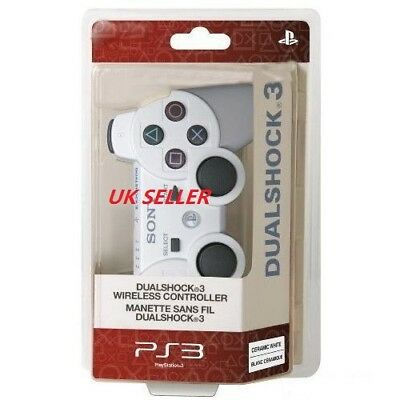 UK Seller White Wireless Bluetooth Remote Controller Gamepad Joystick For PS3