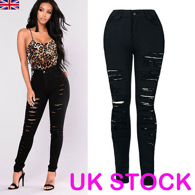 Womens Ripped Jeans High Waist Slim Fit Trousers Ladies Skinny Denim Black Pants