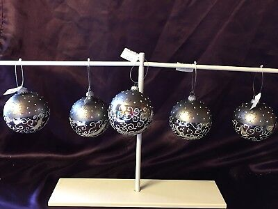 5 X Christmas Glass Two Tone Silver Baubles