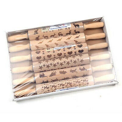 7 Styles Christmas Rolling Pin Engraved Rolling Pin Xmas Embossed Rolling Pin