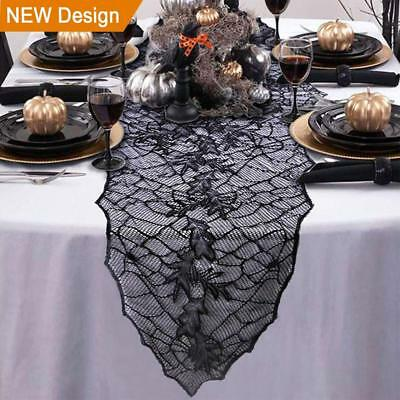 Halloween Table Runner Decoration Black Lace Leaf Web Table Runner  74 x 22 inch