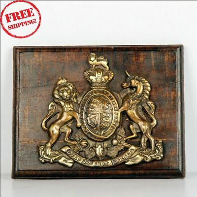 Old Brass & Wooden 'dieu Et Mon Droit' Lion & Unicorn Handcrafted Monogram 9551
