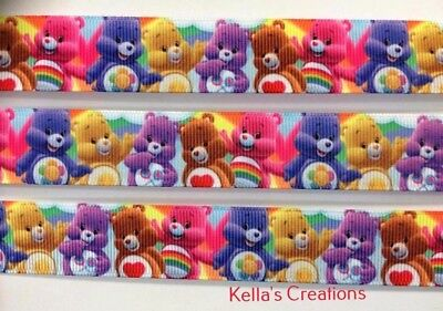 """Care Bears Grosgrain Ribbon 7/8"""" wide sold by 2M - Craft- Hair etc"""