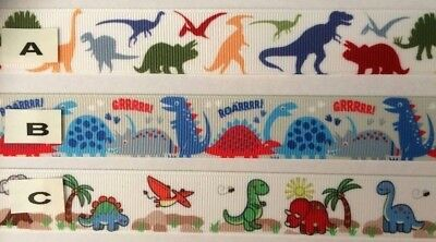 Dinosaur Grosgrain Ribbon all 3 designs are sold by 2M- Craft - Dummy clips
